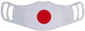 A washable and reusable polyester Japanese Flag printed cloth face mask with two ear holes by each side